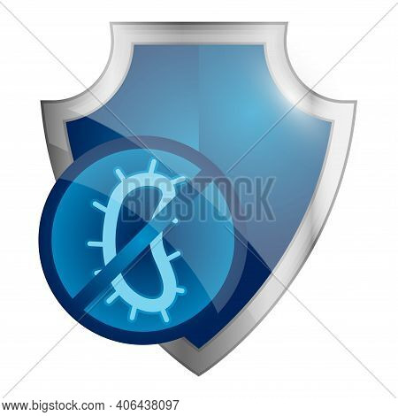 Immune System Concept. Hygienic Medical Glosy Shield Protecting From Bacteria. Badges For Material W