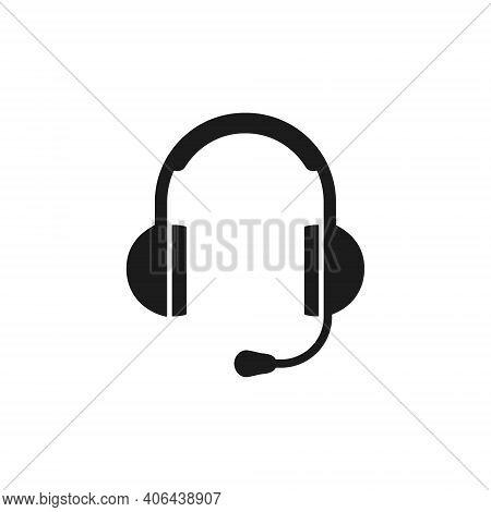 Headphones Icon For Support Or Call Center Service Sign Isolated On White. Operator Or Dispatcher He