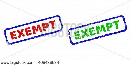 Vector Exempt Framed Rubber Imitations With Grunge Style. Rough Bicolor Rectangle Seal Stamps. Red,