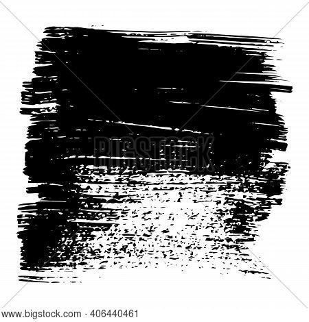 Black Spots, Brush Strokes Made With Ink. Grunge Shapes And Silhouettes For Your Design. Can Be Used