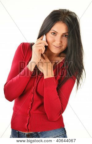 Young Woman Having Telephone Conversation Isolated On White