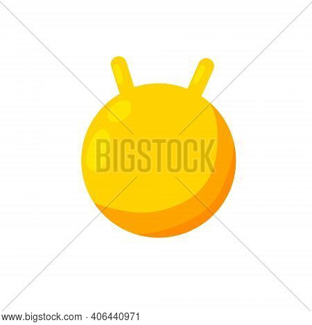 Gymnastic Swiss Ball. Sports Training. Aerobic Exercise. Yellow Rubber Inflatable Circle. Flat Carto