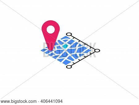 Icon Plot Area In Kilometres, Miles, Hectare. Vector Dimension Area Size Pictogram