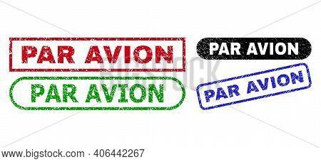 Par Avion Grunge Seals. Flat Vector Grunge Seals With Par Avion Phrase Inside Different Rectangle An