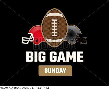 Super Big Bowl Sunday Black And Gold Vector Illustration - Black Background