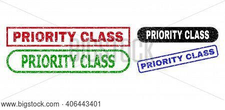 Priority Class Grunge Watermarks. Flat Vector Textured Watermarks With Priority Class Tag Inside Dif