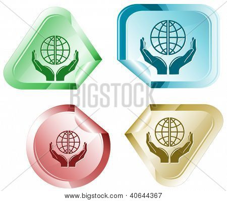 Protection world. Stickers. Raster illustration. Vector version is in my portfolio.