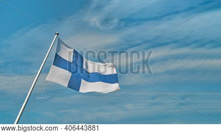 Flag Of Finland, Also Called The Blue Cross Flag, The National Flag Of The Republic Of Finland Again
