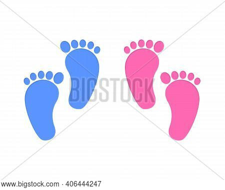 Baby Foot Print Isolated On White Background. Little Boy And Girl Feet. Design Elements For Greeting