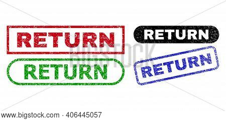 Return Grunge Watermarks. Flat Vector Grunge Watermarks With Return Text Inside Different Rectangle