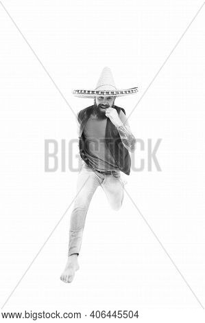 Always In Motion. Man Bearded Cheerful Guy Wear Sombrero Mexican Hat. Mexican Party Concept. Celebra
