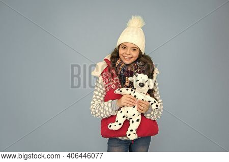 Playful Child. Pets Shop. Her Favourite Toy. Happy Child Hold Soft Toy. Little Girl Smile With Toy D