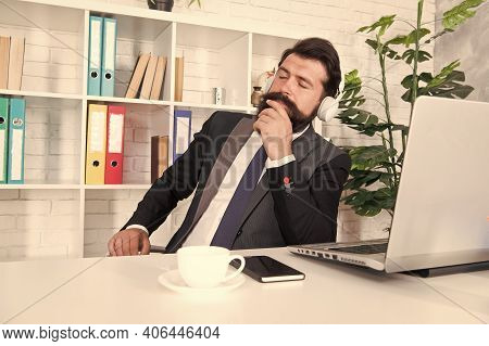 Its Okay To Have Break. Bearded Man Listen To Music At Work Break. Businessman Relax During Break Ti