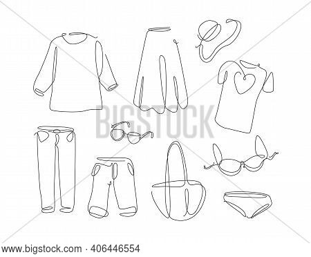 Woman Wear In Simple Line Art Style. One Continuous Line Clothes Set. Vector Collection Of Elegant W