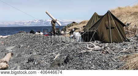Tent On The Rocky Shore Of The Northern Sea Coast On A Sunny Day. Gathering Firewood For A Campfire