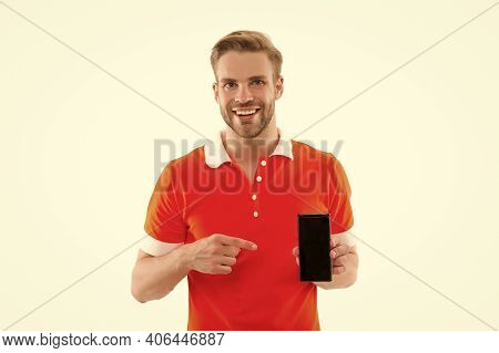 Mobile Repair. Best Phone For Browsing. Happy Handsome Man Hold Cell Phone. 5g Fast Connection. Mobi