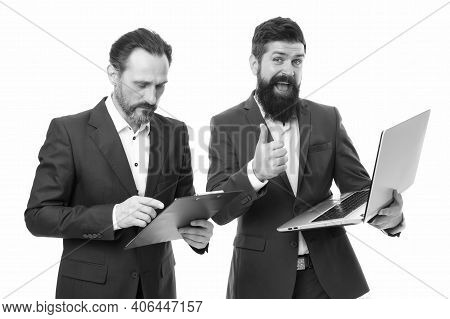 Best Practice In Professional Service. Bearded Men Work On Professional Computer. Businessmen Show T