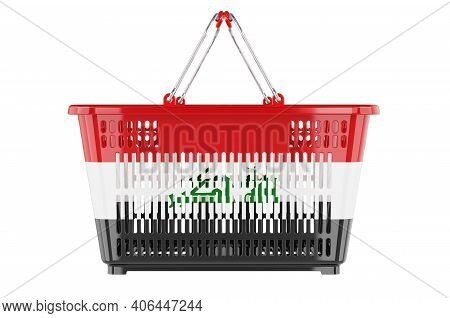 Shopping Basket With Iraqi Flag, Market Basket Or Purchasing Power Concept. 3d Rendering Isolated On