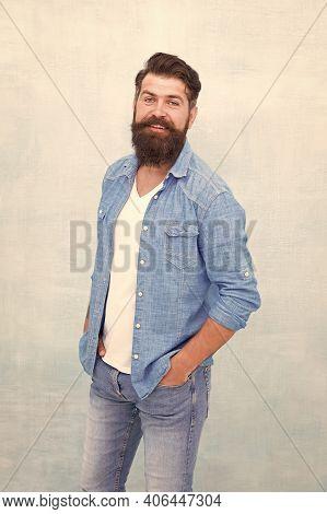 Statement Denim Jacket. Mature Hipster With Beard. Denim Shirt Essential Garment Modern Wardrobe. Cl