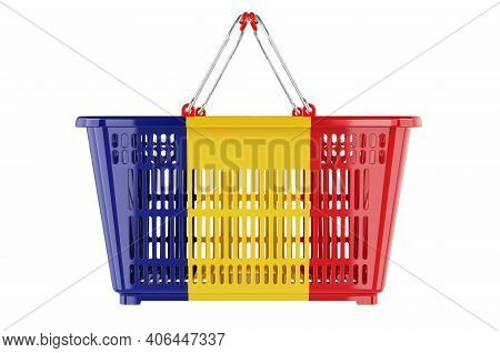 Shopping Basket With Romanian Flag, Market Basket Or Purchasing Power Concept. 3d Rendering Isolated