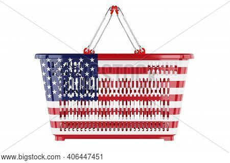 Shopping Basket With American Flag, Market Basket Or Purchasing Power Concept. 3d Rendering Isolated