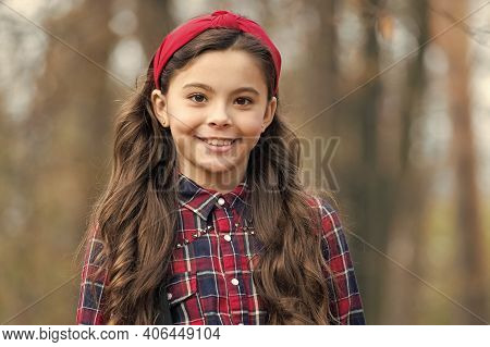 Unequaled In Beauty. Beauty Look Of Adorable Child. Happy Little Beauty Outdoors. Small Girl Smile W