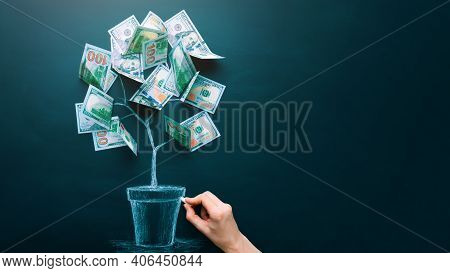 Hand Drawing Money Tree Made By Us Dollar Bills. Business, Saving, Growth, Economic Concept. Investo