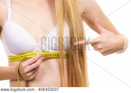 Girl Measuring Her Chest Under Breast