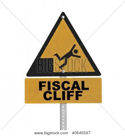 Fiscal cliff warning sign isolated.