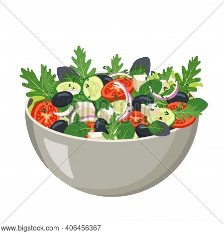 Homemade Fresh Vegetable Salad With Olives. The Vegetarian Or Vegan Meal Is Served In A Bowl. Cookin