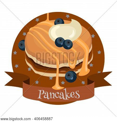 Pancakes With Blueberry, Honey And Cream. Colorful Cartoon Style Illustration For Cafe, Bakery, Rest