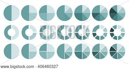 Flat Infographic. Flat Illustration With Pie Chart Circles. Pie Chart Circles, Great Design For Any