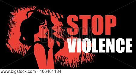 Scared Terrified Woman Stop Violence And Aggression Concept Portrait Horizontal Vector Illustration