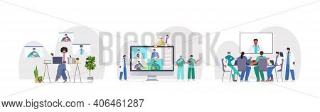 Set Doctors Having Video Conference Mix Race Medical Specialists Discussing During Virtual Meeting M