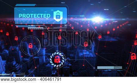 Cyber Security Data Protection Business Technology Privacy Concept. Protected 3d Illustration
