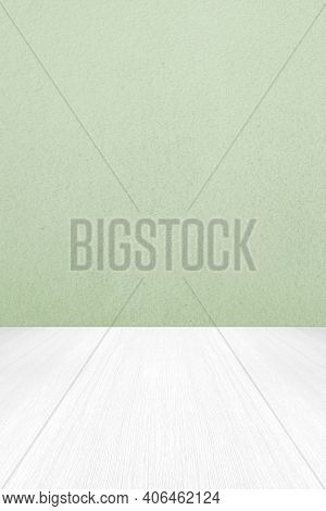 Empty Green Cement Wall And White Wood Floor Background For Product Display Montage, White Concrete