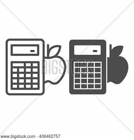Calculator And Apple Line And Solid Icon, Diet Concept, Counting Calories Sign On White Background,