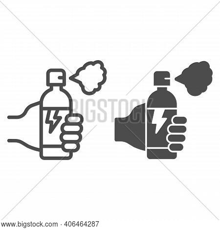 Hand With Balloon Of Poison For Insects Line And Solid Icon, Pest Control Concept, Insect Spray Sign
