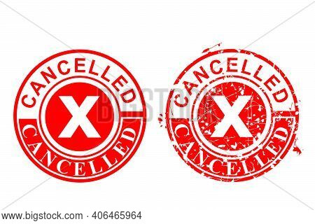Simple Vector 2 Style Red Circle Rust Grunge Red Rubber Stamp, Cancelled, Isolated On White
