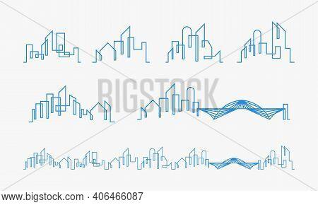 Set Of City Skyline Lineart Logo, Set Of Building Lineart
