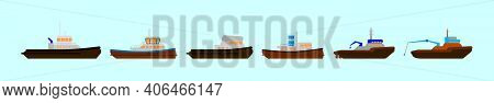 Set Of Tug Boat Cartoon Icon Design Template With Various Models. Modern Vector Illustration Isolate