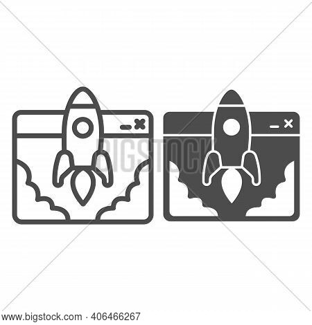 Website And Rocket Launch Line And Solid Icon, Startup Concept, Site Launch Sign On White Background