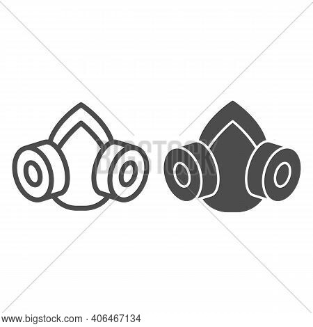 Gas Mask Line And Solid Icon, Pest Control Concept, Respirator Sign On White Background, Pest Contro