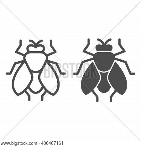 Fly Line And Solid Icon, Pest Control Concept, Insect Sign On White Background, Fly Silhouette Icon