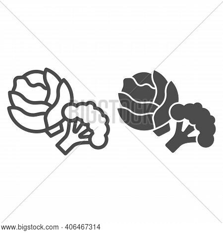 Cabbage And Broccoli Line And Solid Icon, Diet Concept, Vegetable Sign On White Background, Fresh Ca
