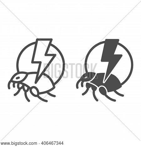 Flea And Lightning Line And Solid Icon, Pest Control Concept, Flea Warning Sign On White Background,