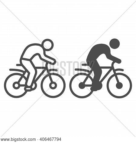 Man On Bike Line And Solid Icon, Sport Concept, Bicyclist Silhouette Sign On White Background, Perso
