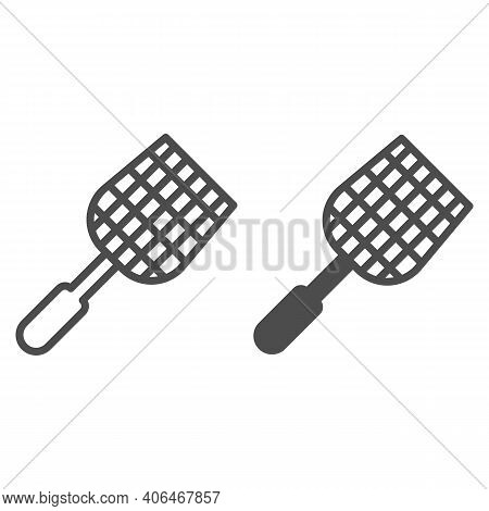 Fly Swatter Line And Solid Icon, Pest Control Concept, Flyswatter Symbol On White Background, Fly Sw
