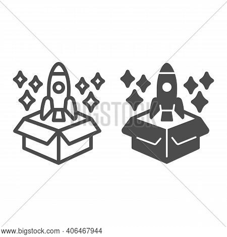 Product Packaging And Rocket With Stars Line And Solid Icon, Startup Concept, Product Release Sign O