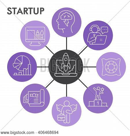 Modern Start Up Infographic Design Template With Icons. Business Start And Success Infographic Visua